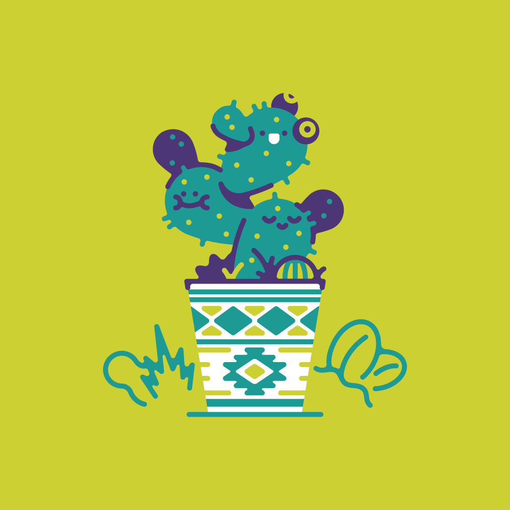 Potted Cacti Pals Illustration